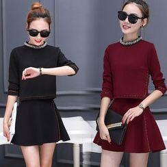 Sienne - Set: Embellished Long Sleeve Top + A-Line Skirt