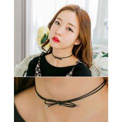 soo n soo - Faux-Leather Bow Choker