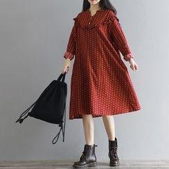 巧妮兒 - 皺摺邊印花連衣裙