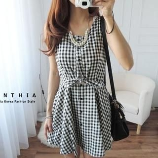CYNTHIA - Sleeveless Tie-Front Gingham Dress