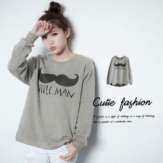 CUTIE FASHION - Moustache-Print Dip-Back Pullover