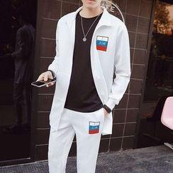 Danjieshi - Set: Longline Zip Jacket + Sweatpants