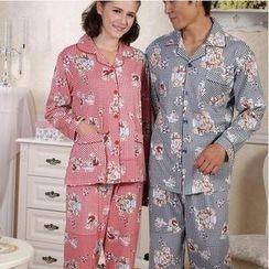 Landgravine - Couple Pajama Set: Bear Plaid Top + Bear Plaid Pants