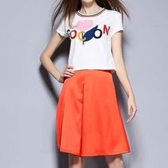 Merald - Set: Print Short Sleeve T-Shirt + A-line Skirt