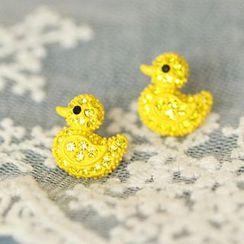 Bmuse - Rhinestone Duck Earrings