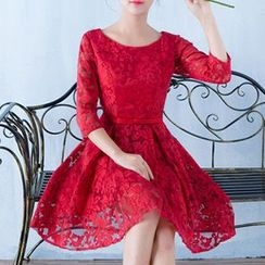 Luxury Style - 3/4-Sleeve Lace A-Line Cocktail Dress