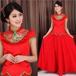 Bridal Workshop - 2 Pieces Wedding Cheongsam Set: Cheongsam Top + Skirt