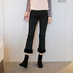 WITH IPUN - Faux-Fur Trim Straight-Cut Pants