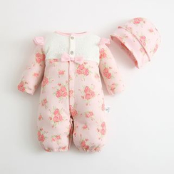 MOM Kiss - Baby Floral Jumpsuit with Cap