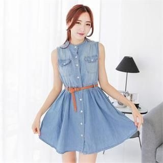 SUVINSHOP - Flap-Pocket Denim A-Line Mini Dress
