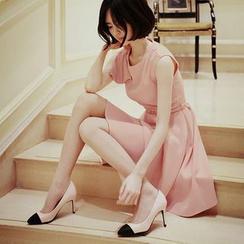 anzoveve - Sleeveless A-Line Chiffon Dress with Belt