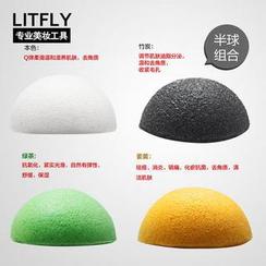 Litfly - Natural Konjac Sponge (Half Round) (4 pcs)