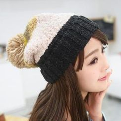 59 Seconds - Pompom Accent Color-Block Beanie