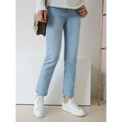 STYLEBYYAM - Washed Straight-Cut Jeans