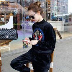belle epoque - Set: Print Velvet Sweatshirt + Sweatpants