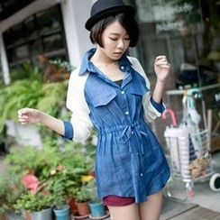 Tokyo Fashion - Chiffon Long-Sleeve Drawstring-Waist Shirt