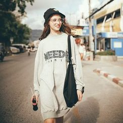 MOFFI - Embroidered Letter Long Knit Pullover