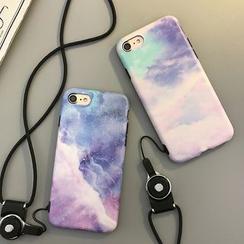 Cartoon Face - Galaxy Print Phone Case with Neck Strap - Apple iPhone 6 / 6 Plus / 7 / 7 Plus