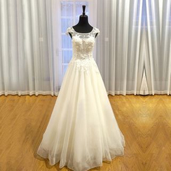 YACCA - Cap Sleeve Mesh Trim Wedding Ball Gown / With Train