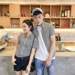 Evolu Fashion - Couple Matching Short-Sleeve Striped Shirt
