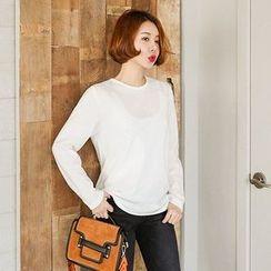 Seoul Fashion - Crew-Neck Long-Sleeve T-Shirt