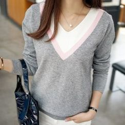 Romantica - Color-Block Knit Top