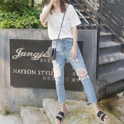 EEKO - Distressed Cropped Slim Fit Jeans