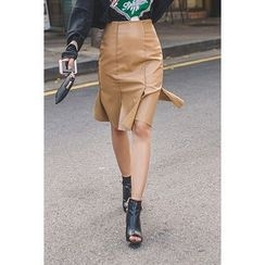 migunstyle - Slit-Front Faux-Leather Skirt