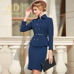 Aision - Set: Double-Breasted Blazer + Pencil Skirt