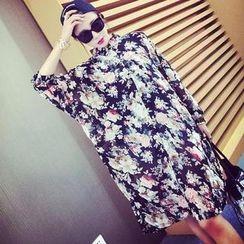 Jack Grace - Loose-Fit Floral Chiffon Long Shirt