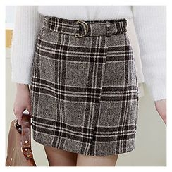 Sechuna - Band-Waist Plaid Pencil Skirt