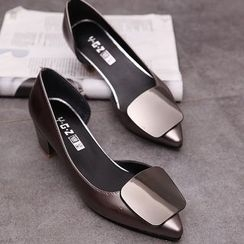 MANMANNI - Pointy-Toe Paneled Chunky-Heel Pumps