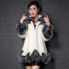 KOTEN - Contrast Trim Hooded Faux Fur Coat