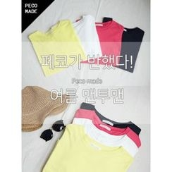 hellopeco - Round-Neck Long-Sleeve Sweatshirt