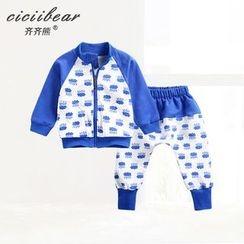 ciciibear - 婴儿套装: 图案拉链夹克 + 裤