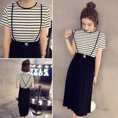 YOSH - Mock Two-piece Stripe Short-Sleeve Dress