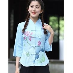 Venesia - Floral Print 3/4 Sleeve Cheongsam Top