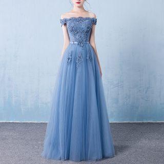 Rosita - Off-Shoulder Embroidered Evening Gown