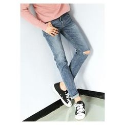 HOTBOOM - Slit-Trim Washed Straight-Cut Jeans