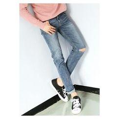HOTBOOM - Slit-Trim Washed Straight-Cut Jeans