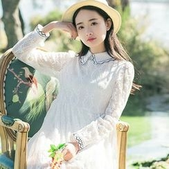 Sens Collection - Collared Long Sleeve Lace Dress