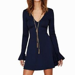 Eloqueen - Flare-Sleeve V-Neck Dress