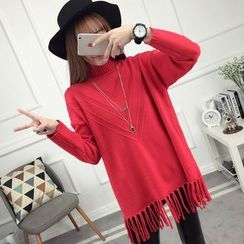 anzoveve - Fringe Hem High Neck Long Sweater