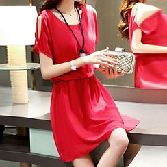 Rocho - Cutout Shoulder Chiffon Dress