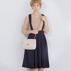 CatWorld - Pleated Suspender Midi Skirt