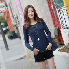 CLICK - Mock Layered Long-Sleeved T-Shirt
