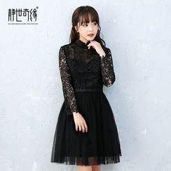 靜世奇緣 - 長袖蕾絲禮服裙