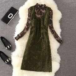 Clementine - 套装: 印花长袖雪纺连衣裙 + 针织背心裙