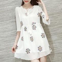 MayFair - Embroidered Elbow-Sleeve Chiffon Dress