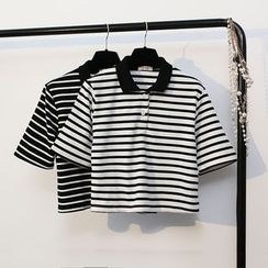 KANAMI - Short-Sleeve Striped Polo Shirt